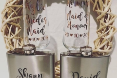 Custom Hip Flasks and Champagne glasses