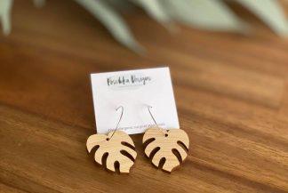 monstera wooden earrings - fashionable