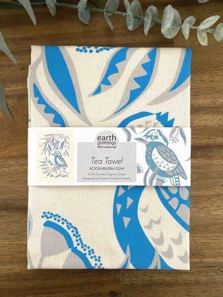 kookaburra organic tea towel