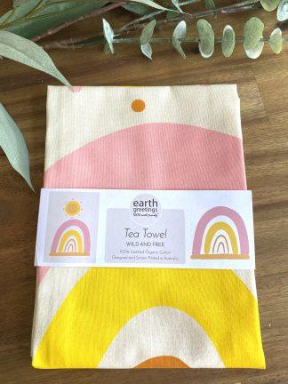 organic cotton tea towel rainbow