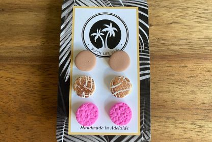 pack of 3 clay stud earrings handmade