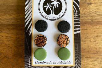 pack of 3 clay stud earrings handmade in adelaide