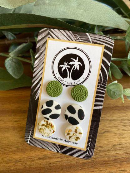 handmade pack of 3 clay stud earrings south australia
