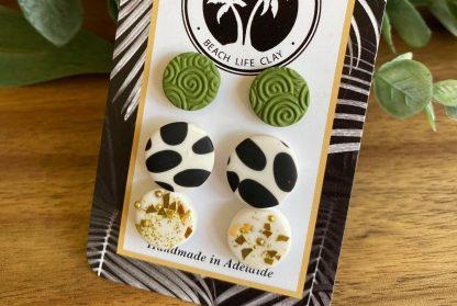 pack of 3 clay stud earrings handmade