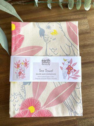silver gum cockatoo organic cotton tea towel
