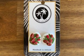 red bottlebrush clay earrings