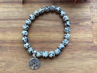 dalmatian jasper gemstone bracelet with tree of life