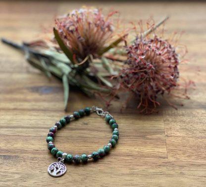 ruby in zoisite crystal bracelet - adelaide