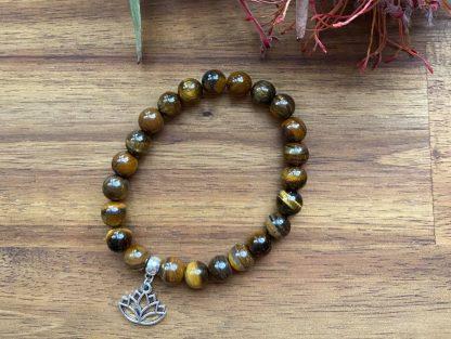 Tigers eye gemstone bracelet - lotus flower