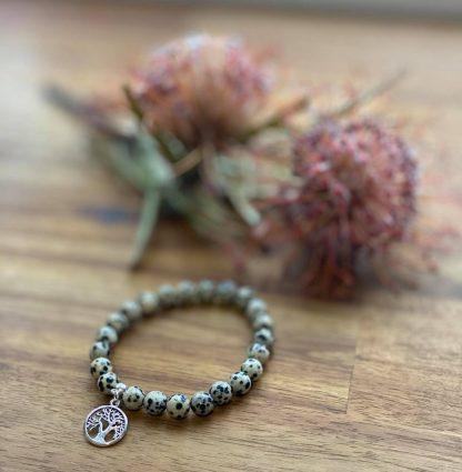 dalmatian jasper gemstone bracelet tree of life