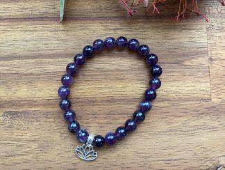 lapis Lazuli gemstone bracelet lotus charm adelaide
